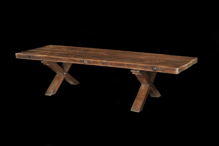 A massive, 320cm long, 100cm wide, 14-16 seater, antiquarian, monastery-type table, the thick 18th century oak top upcycled in the late-19th/early-20th century onto an x-ended base
