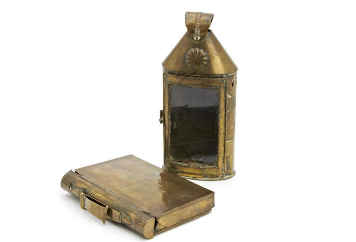 A rare, George III brass, pocket or lady's lantern, which folds into a book
