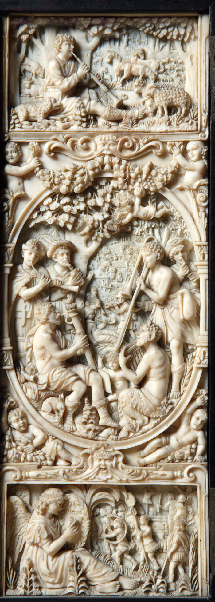 A pair of exceptional, carved, ivory panels after the panels in the Maximillian I Coin Cabinet by  Christof Angermair in the  Bayerische Staatsgemäldesammlung