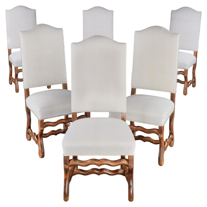 Chair, Set of Six, Dining, Upholstered, French, Os-de-mouton, Walnut, Linen